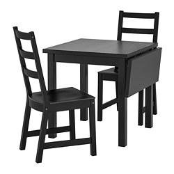 NORDVIKEN/NORDVIKEN - Meja dan 2 kursi, hitam/hitam