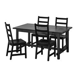 NORDVIKEN/NORDVIKEN - Meja dan 4 kursi, hitam/hitam