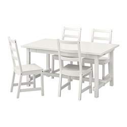 NORDVIKEN/NORDVIKEN - Table and 4 chairs, white/white