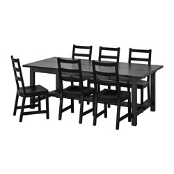 NORDVIKEN/NORDVIKEN - Meja dan 6 kursi, hitam/hitam