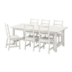 NORDVIKEN/NORDVIKEN - Meja dan 6 kursi, putih/putih