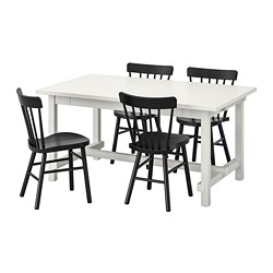 NORRARYD/NORDVIKEN - Table and 4 chairs, white/black