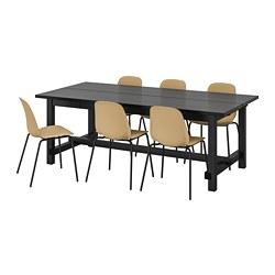 LEIFARNE/NORDVIKEN - Meja dan 6 kursi, hitam/hijau olive muda hitam