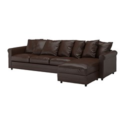 GRÖNLID - 4-seat sofa, with chaise longue/Kimstad dark brown