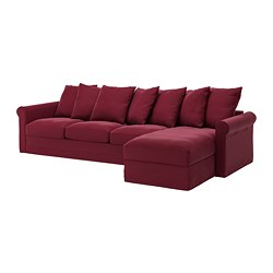 GRÖNLID - 4-seat sofa, with chaise longue/Ljungen dark red