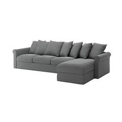 GRÖNLID - 4-seat sofa, with chaise longue/Ljungen medium grey