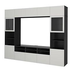 BESTÅ - Kombinasi penyimpanan TV/pintu kaca, hitam-cokelat/Lappviken abu muda kaca bening