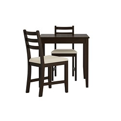 LERHAMN - Table and 2 chairs, black-brown/Vittaryd beige
