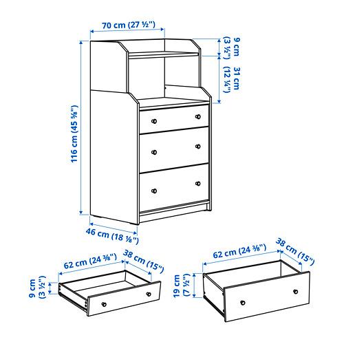 HAUGA lemari 3 laci dengan rak