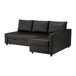 FRIHETEN - Corner sofa-bed with storage, Bomstad black