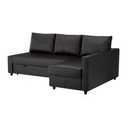 FRIHETEN - Sofa tempat tidur sudut dgn pnympn, Bomstad hitam