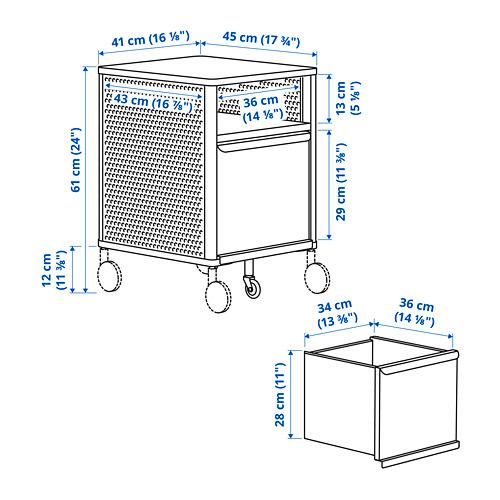 BEKANT - unit penyimpanan dg roda, jaring putih, 41x61 cm   IKEA Indonesia - PE798995_S4