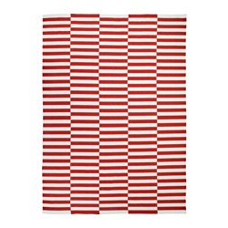 STOCKHOLM 2017 - Karpet, anyaman datar, buatan tangan/garis-garis merah