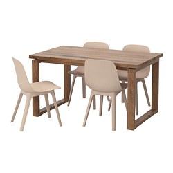 ODGER/MÖRBYLÅNGA - Meja dan 4 kursi, cokelat putih/krem