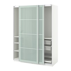PAX - Lemari pakaian, putih/Sekken kaca frosted