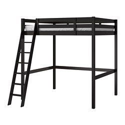 STORÅ - Rangka tempat tidur tinggi, hitam