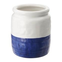 GODTAGBAR - Vas, keramik putih/biru