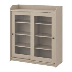 HAUGA - Kabinet pintu kaca, krem, 105x116 cm