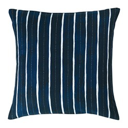 INNEHÅLLSRIK - Sarung bantal kursi, buatan tangan biru/putih