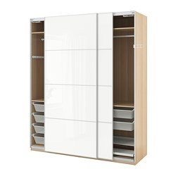PAX - Wardrobe, white stained oak effect/Färvik high-gloss/white