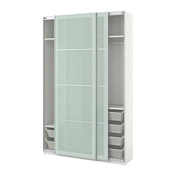 PAX - Wardrobe, white/Sekken frosted glass