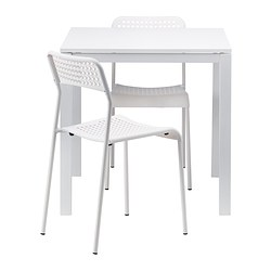 MELLTORP/ADDE - Table and 2 chairs, white/white