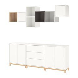 EKET - Cabinet combination with legs, white/white stained oak effect light grey/dark grey