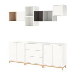 EKET - Kombinasi kabinet dengan kaki, putih/efek kayu oak diwarnai putih abu-abu muda/abu-abu gelap