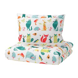 LATTJO - Quilt cover and pillowcase, animal/multicolour