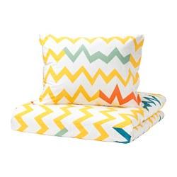 STILLSAMT - Sarung quilt dan sarung bantal, kuning/aneka warna