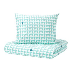 STILLSAMT - Quilt cover and pillowcase, light turquoise