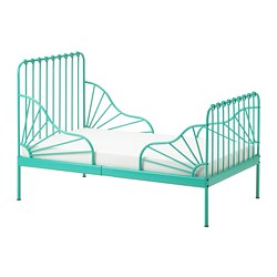 MINNEN - Extension bed frame with slatted bed base, turquoise