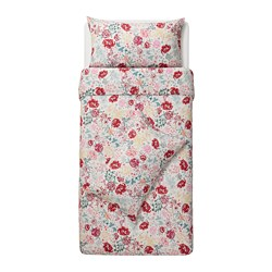 LUNDSLOK - Sarung quilt dan 2 sarung bantal, aneka warna