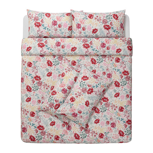 LUNDSLOK quilt cover and 4 pillowcases