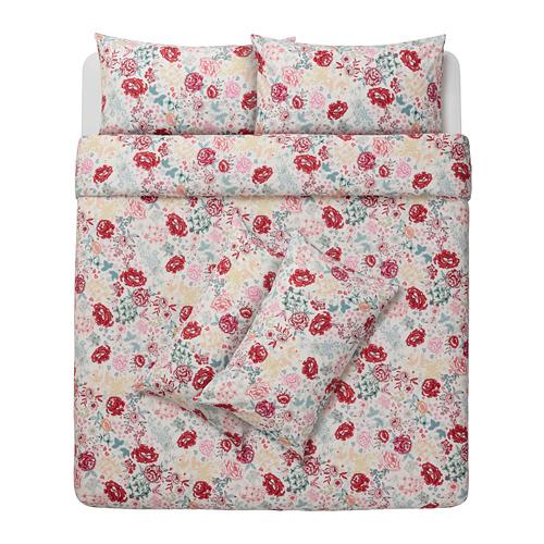 LUNDSLOK sarung quilt dan 4 sarung bantal
