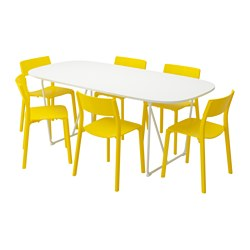 JANINGE/OPPEBY/BACKARYD - Meja dan 6 kursi, putih/kuning