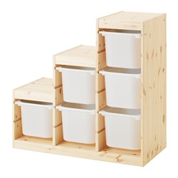 TROFAST - Storage combination, light white stained pine/white