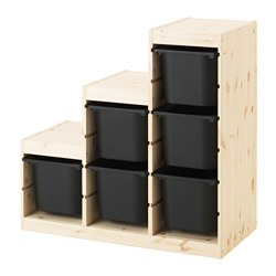 TROFAST - Storage combination, light white stained pine/black