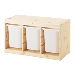 TROFAST - Storage combination with boxes, light white stained pine/white