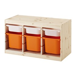 TROFAST - Storage combination with boxes, light white stained pine white/orange