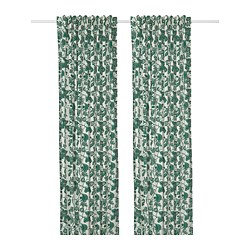 ALPKLÖVER - Curtains, 1 pair, white/dark green