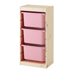 TROFAST - Storage combination with boxes, light white stained pine/pink