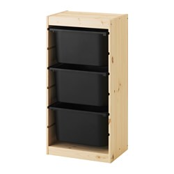 TROFAST - Storage combination with boxes, light white stained pine/black