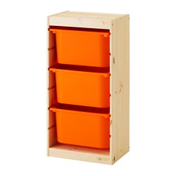 TROFAST - Storage combination with boxes, light white stained pine/orange