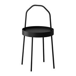 BURVIK - Meja samping, hitam, 38 cm