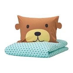 KÄPPHÄST - Sarung quilt dan sarung bantal, beruang toska