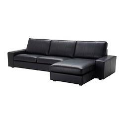 KIVIK - Sofa 4 dudukan, dengan chaise longue/Grann/Bomstad hitam