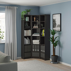 BILLY - Bookcase combination/crnr solution, black-brown