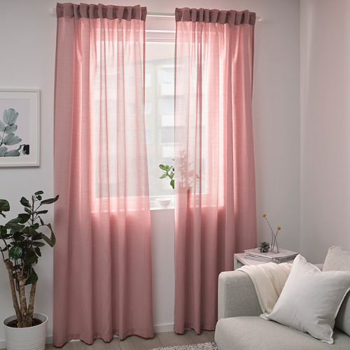 HILJA - curtains, 1 pair, light red, 145x250 cm | IKEA Indonesia - PE747094_S4