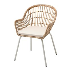 NORNA/NILSOVE - Chair with chair pad, rattan white/Laila natural